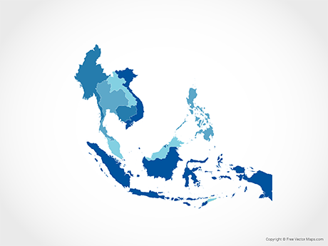 Free Vector Map of South East Asia with Countries - Blue