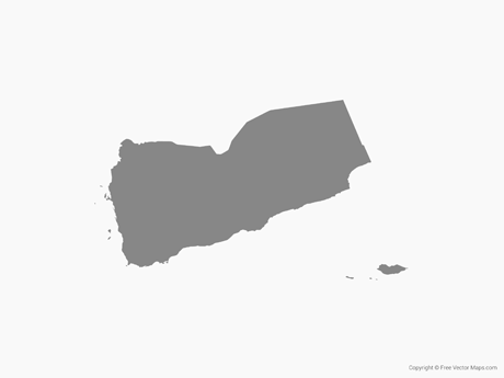 Map of Yemen - Single Color