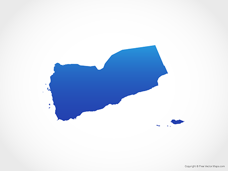 Free Vector Map of Yemen - Blue