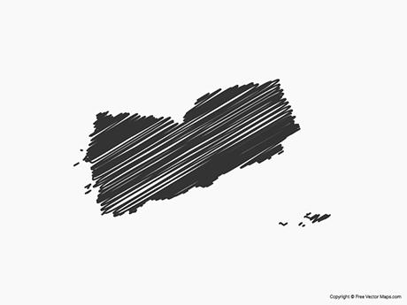 Free Vector Map of Yemen - Sketch