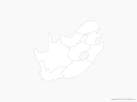 Free Vector Map of South Africa with Provinces - Outline