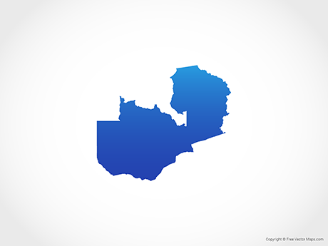 Free Vector Map of Zambia - Blue