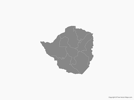 Free Vector Map of Zimbabwe with Provinces - Single Color