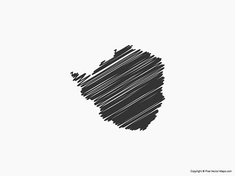 Free Vector Map of Zimbabwe - Sketch