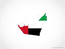 Map of United Arab Emirates - Flag