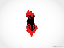 Map of Albania - Flag