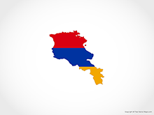 Map of Armenia - Flag