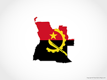 Map of Angola - Flag