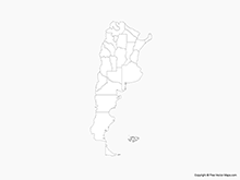 Map of Argentina with Provinces - Outline