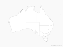 Map of Australia with States - Outline