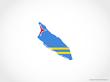Map of Aruba - Flag