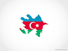 Map of Azerbaijan - Flag