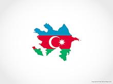 Map of Azerbaijan - Flag
