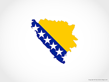 Map of Bosnia and Herzegovina - Flag