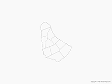 Map of Barbados with Parishes - Outline