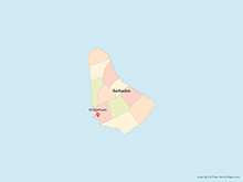 Map of Barbados with Parishes - Multicolor