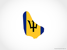 Map of Barbados - Flag