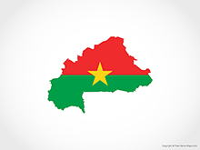 Map of Burkina Faso - Flag