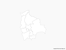 Map of Bolivia with Administrative Divisions  - Outline