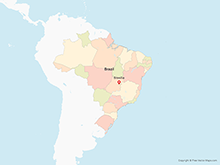 Map of Brazil with States - Multicolor