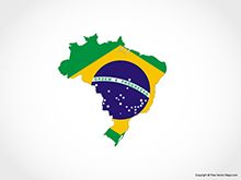 Map of Brazil - Flag