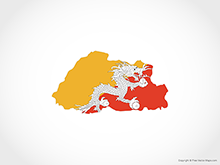 Map of Bhutan - Flag
