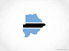 Map of Botswana - Flag