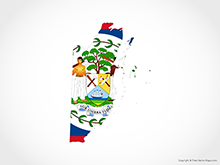 Map of Belize - Flag