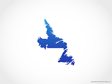 Map of Newfoundland and Labrador - Blue