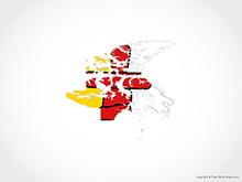 Map of Nunavut - Flag