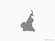 Map of Cameroon with Regions - Single Color