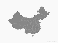 Map of China with Provinces - Single Color