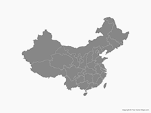 Map of China with Provinces including Taiwan - Single Color