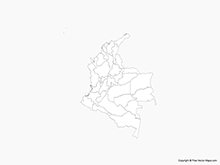 Map of Colombia with Regions - Outline