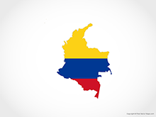 Map of Colombia - Flag