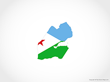 Map of Djibouti - Flag