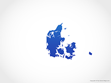 Map of Denmark - Blue