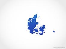 Map of Denmark - Blue