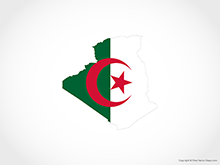 Map of Algeria - Flag