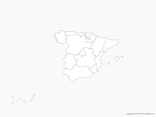 Map of Spain with Regions - Outline