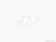 Map of Falkland Islands (Islas Malvinas) - Outline