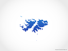Map of Falkland Islands (Islas Malvinas) - Blue