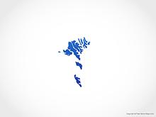 Map of Faroe Islands - Blue