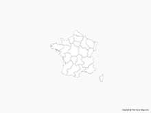 Map of France with Regions - Outline