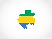 Map of Gabon - Flag