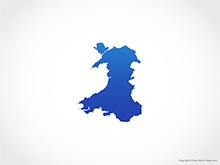 Map of Wales - Blue
