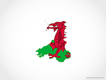 Map of Wales - Flag