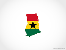 Map of Ghana - Flag