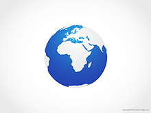 Map of Globe of Africa - Blue