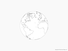 Map of Globe of Atlantic Ocean - Outline